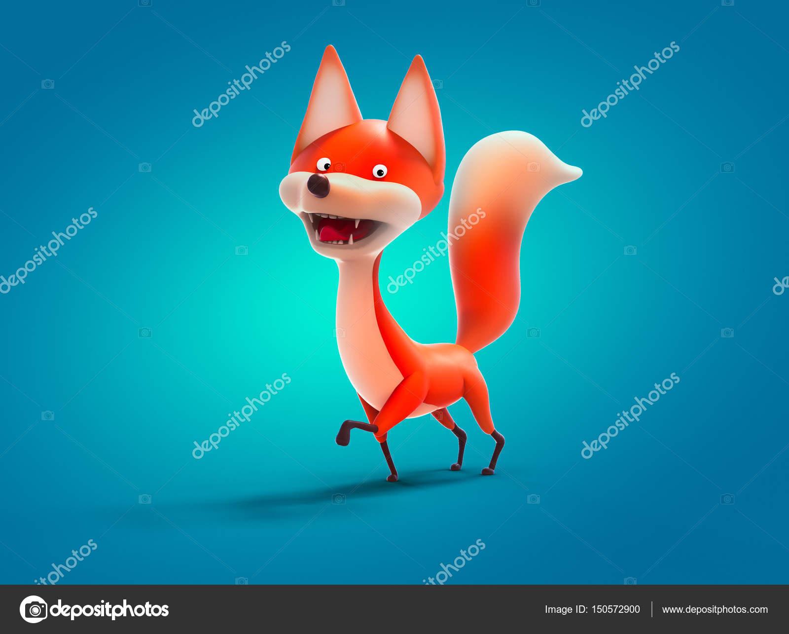 行走的狐狸,卡通人物 3d 图