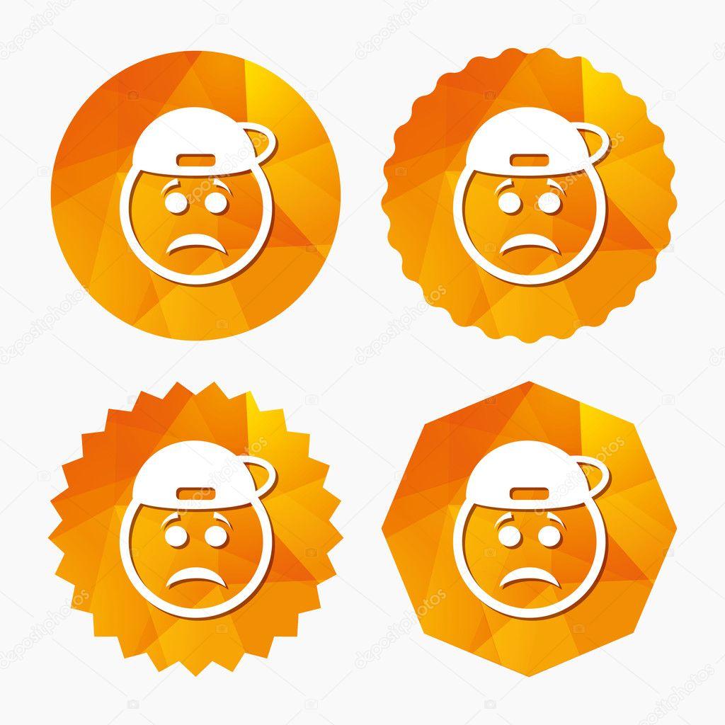 Icono de signo de cara triste rapero. símbolo de la tristeza \u2014 Archivo  Imágenes Vectoriales