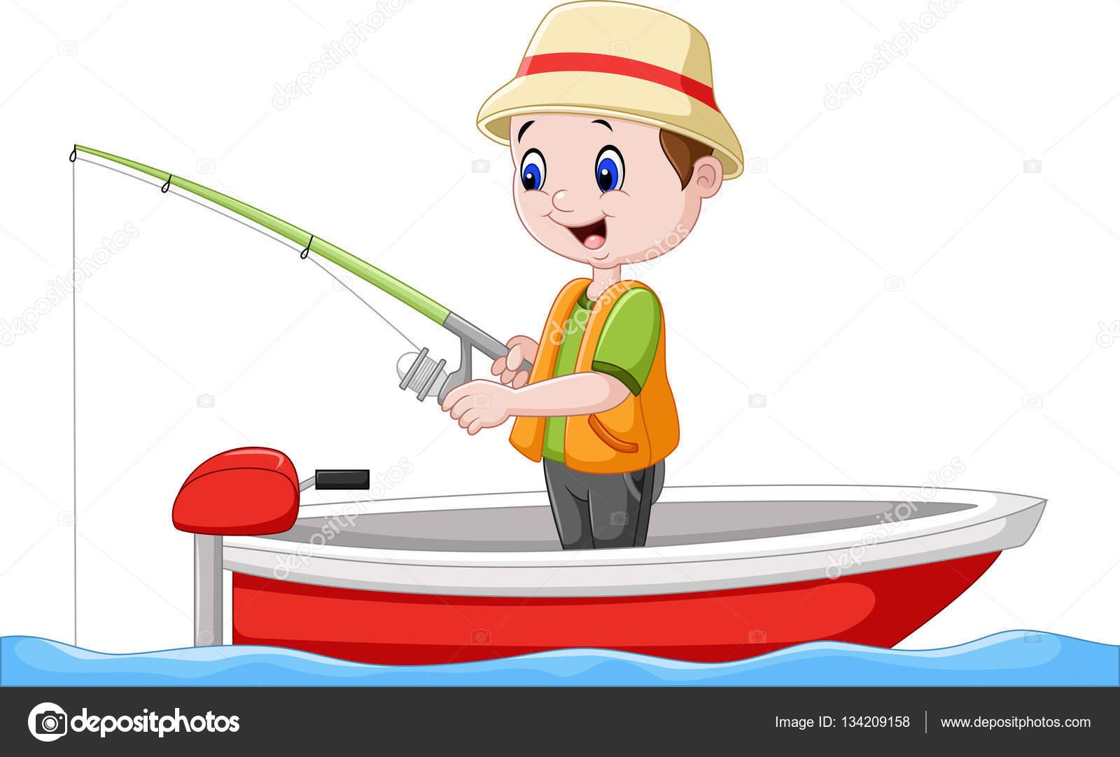 Niño De Dibujos Animados En Un Barco De Pesca