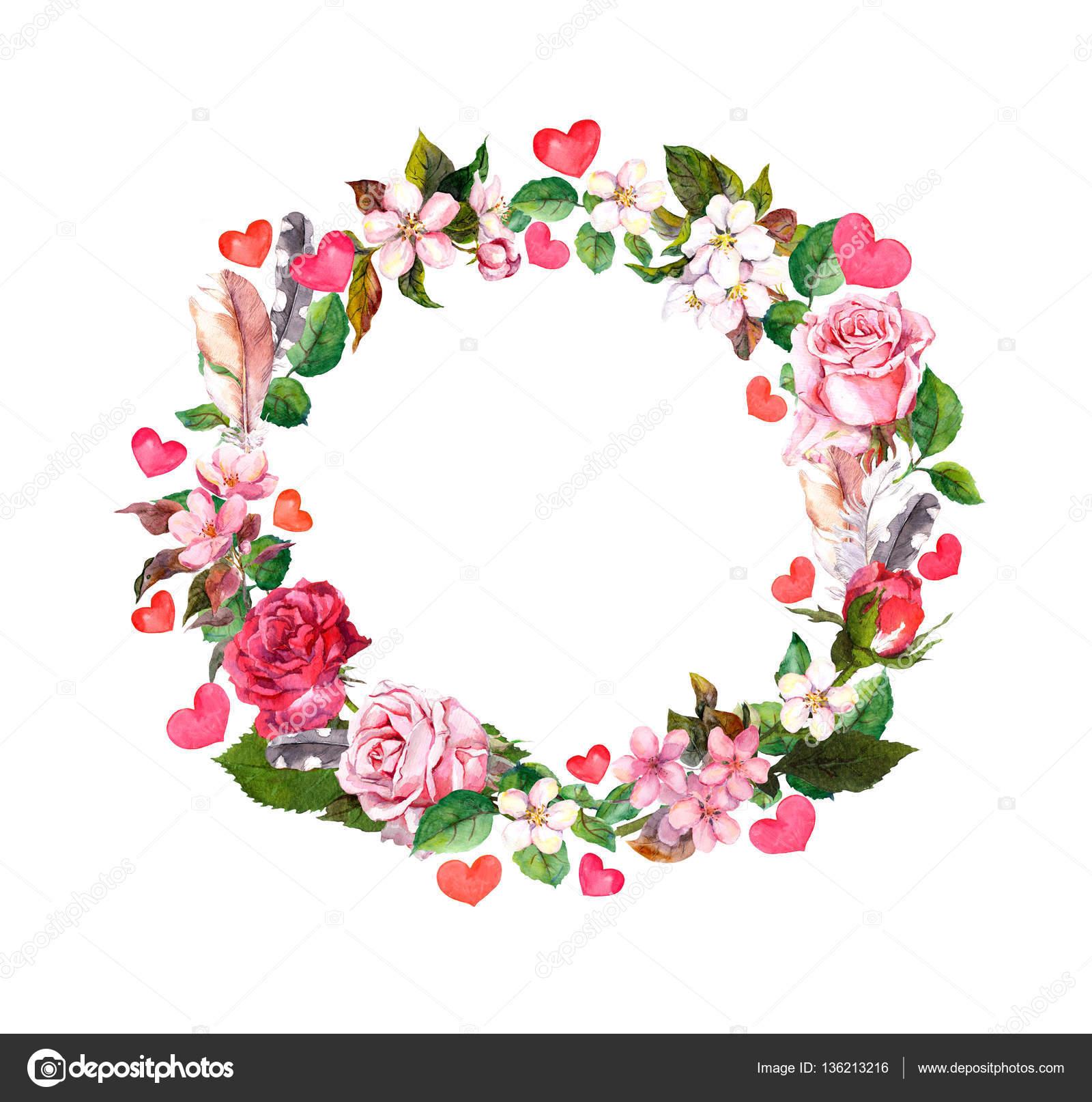 Mothers Day Flower Blumenkranz Rosen Blumen Federn Herzen Aquarell Rund