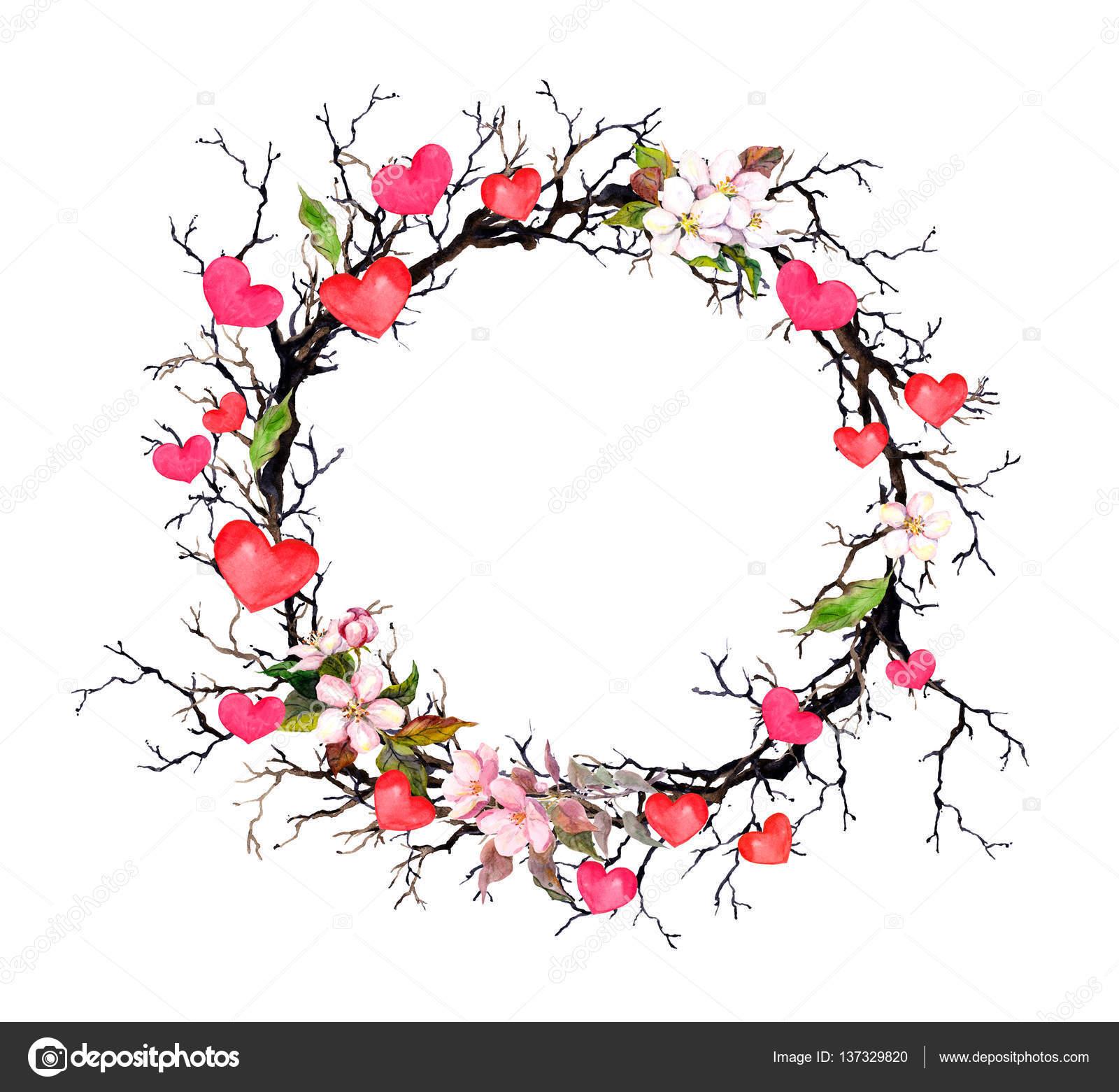 Merry Christmas Modern Guirnalda Floral Ramitas Con Flores De Primavera