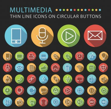 Set 45 Elegant Universal White Multimedia Minimalistic Thin Line Icons on Circular Colored Buttons on Black Background