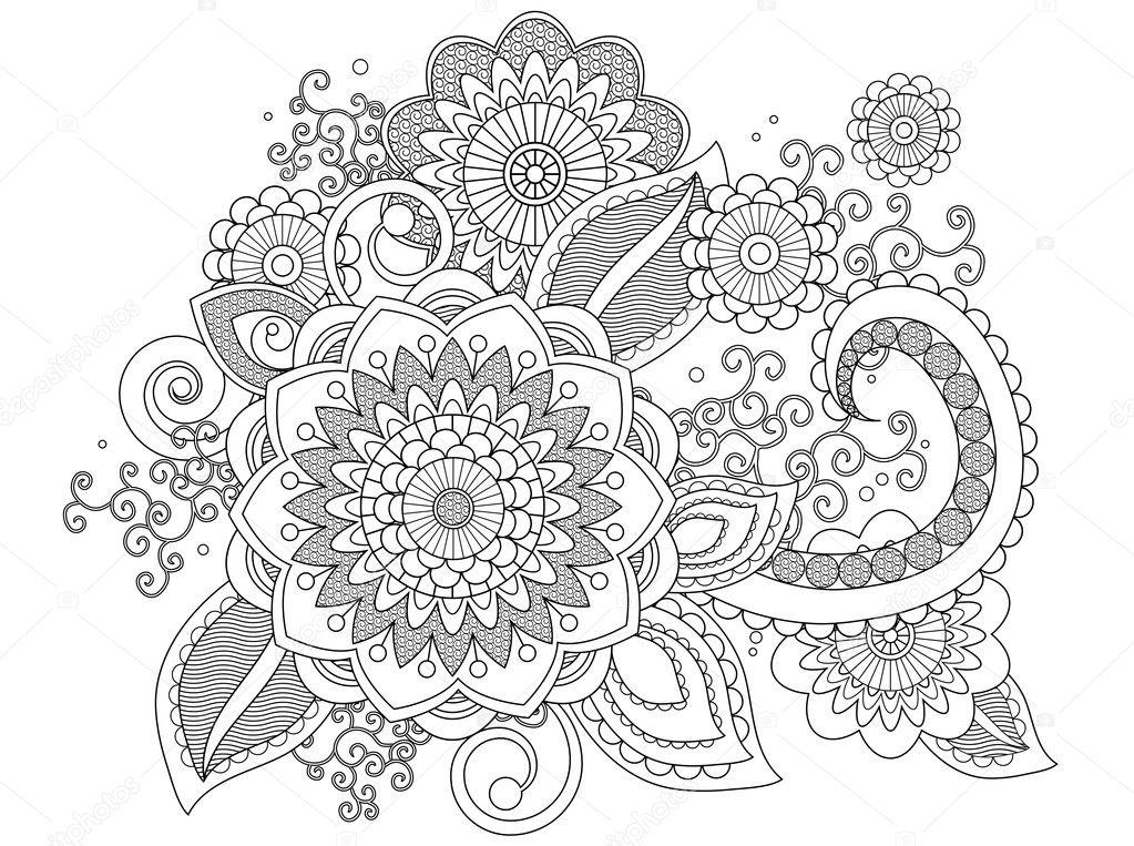 henna patroon kleurplaat — stockfoto 128480092