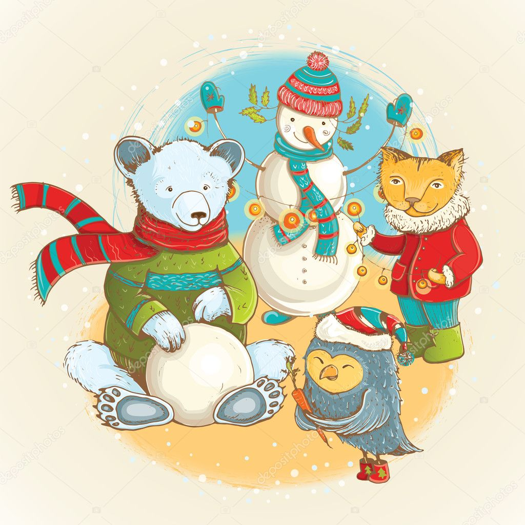 Cartoon christmas animals