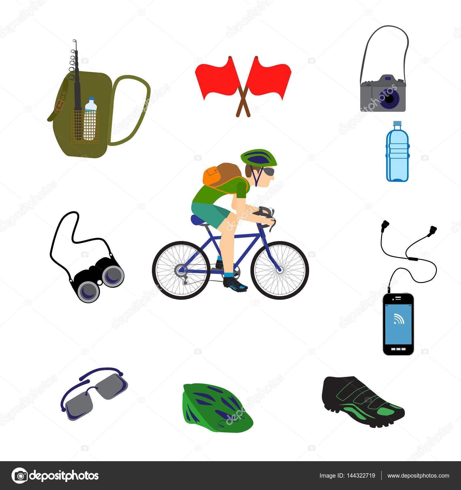 自行车旅游图标设置, 矢量图– 图库插图