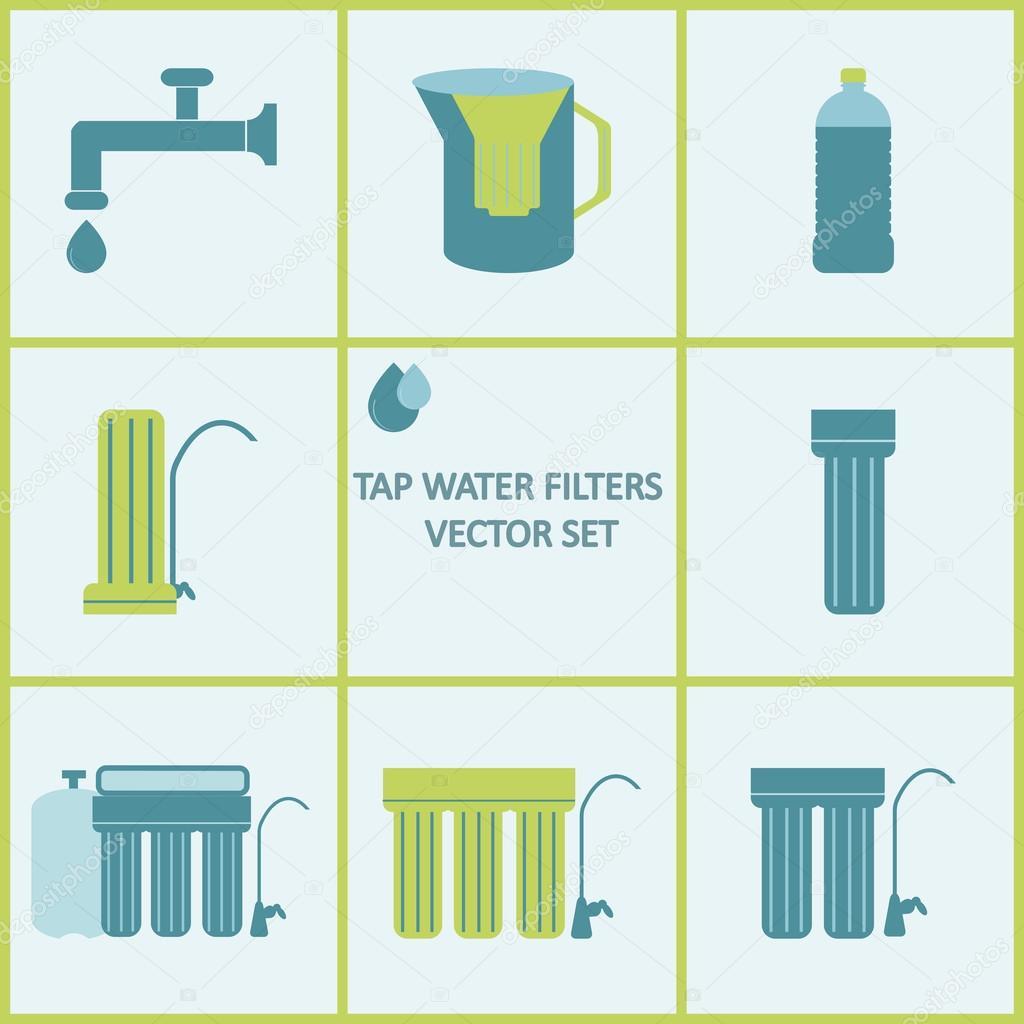 Conjunto de iconos de filtro de agua del grifo filtros de - Filtros para grifos casa ...