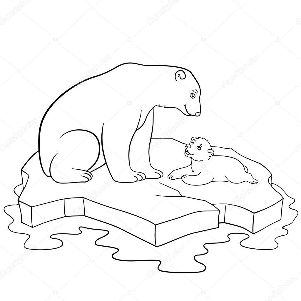 Dibujos para colorear madre oso polar con su lindo beb - Orsi polari pagine da colorare ...