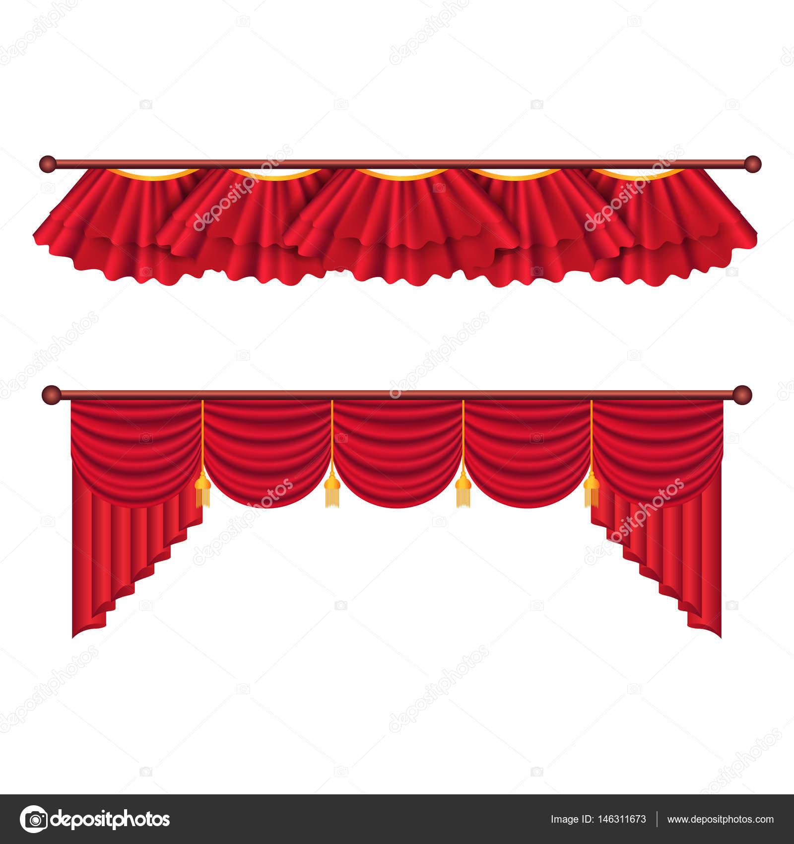 juego de cortinas rojas ilustracin de cortina de seda de lujo u vector de stock