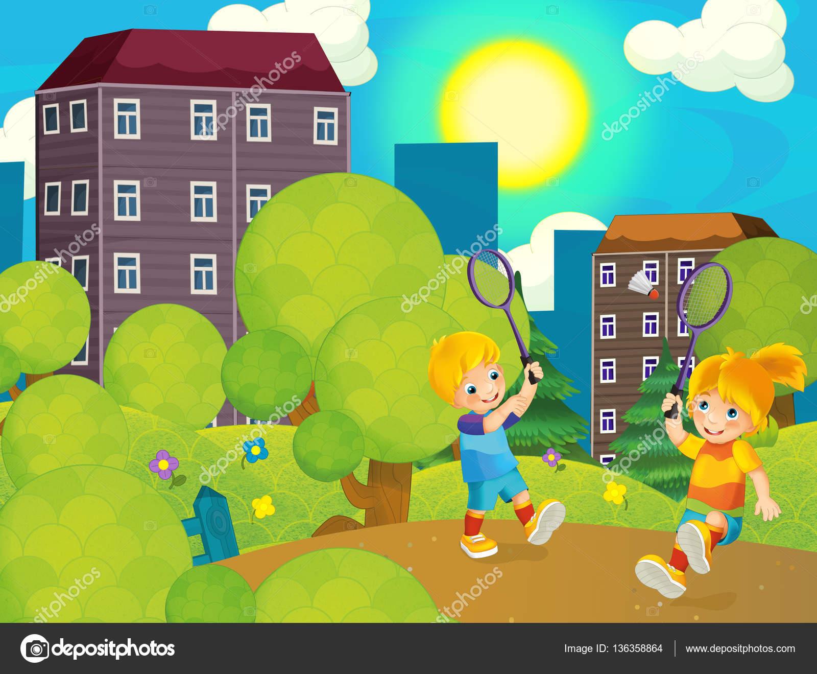 Escena De Dibujos Animados Con Los Niños Jugando Al Tenis