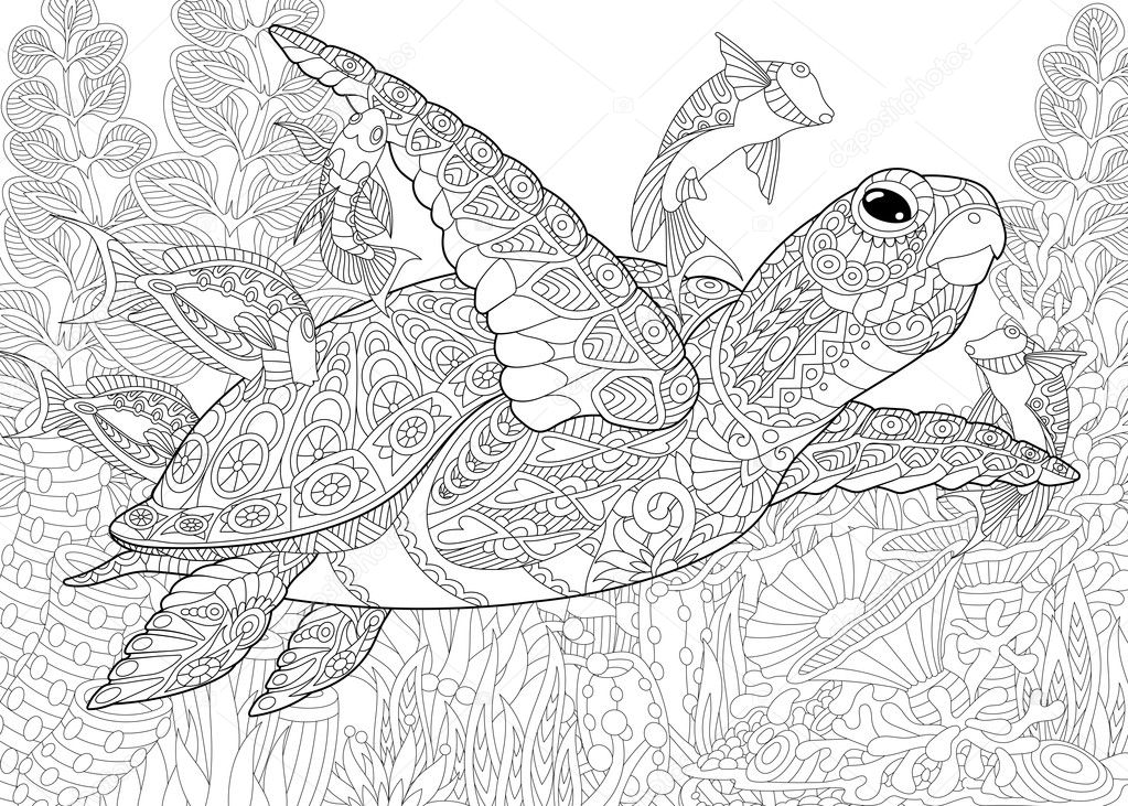 Aquarium Stylis 233 Zentangle Image Vectorielle 125307692