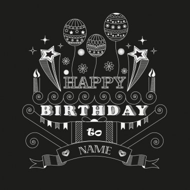 Vector poster with birthday greetings on a black background