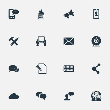Vector Illustration Set Of Simple User Icons. Elements Notepad, Profile, Argument And Other Synonyms International, Network And Man.
