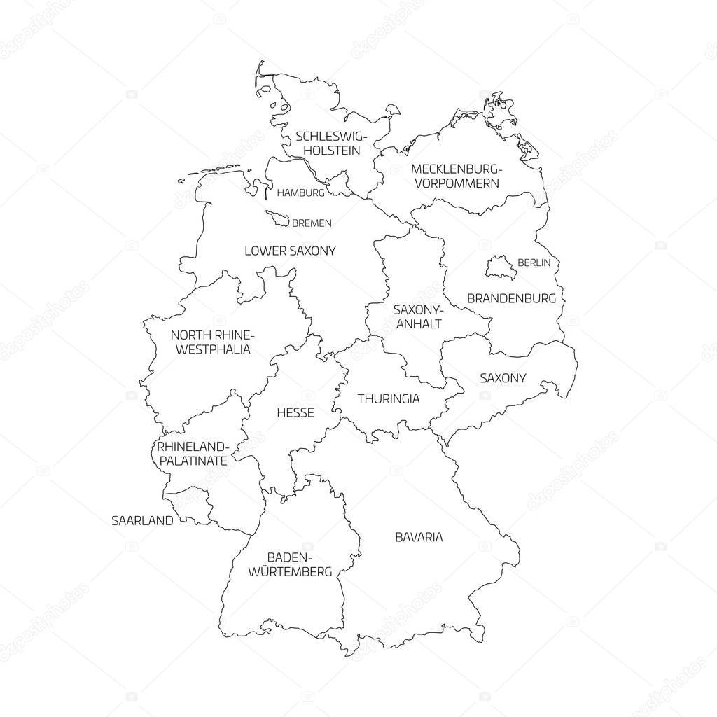 Map of Germany divided to federal states Vector pyty – Black and White Map of Germany
