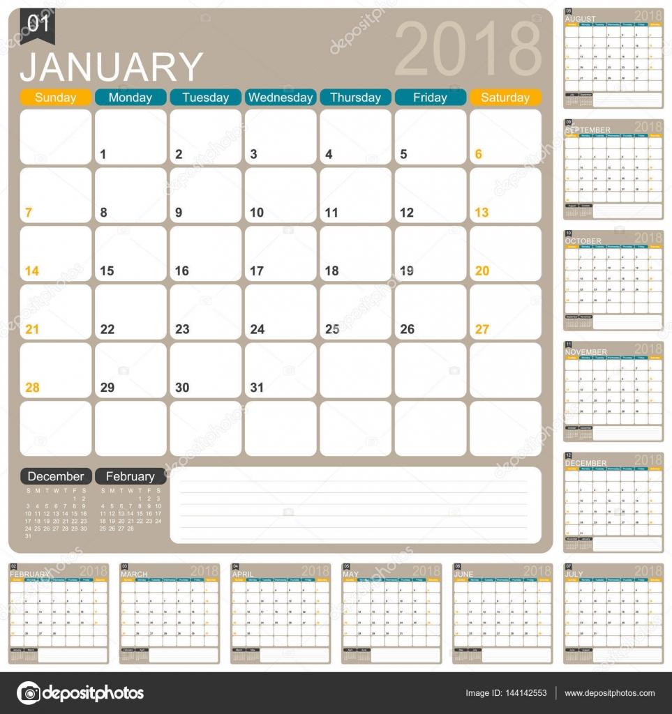 英语月历模板 2018 年,组的 12 个月,周开始于星期日,打印日历模板—