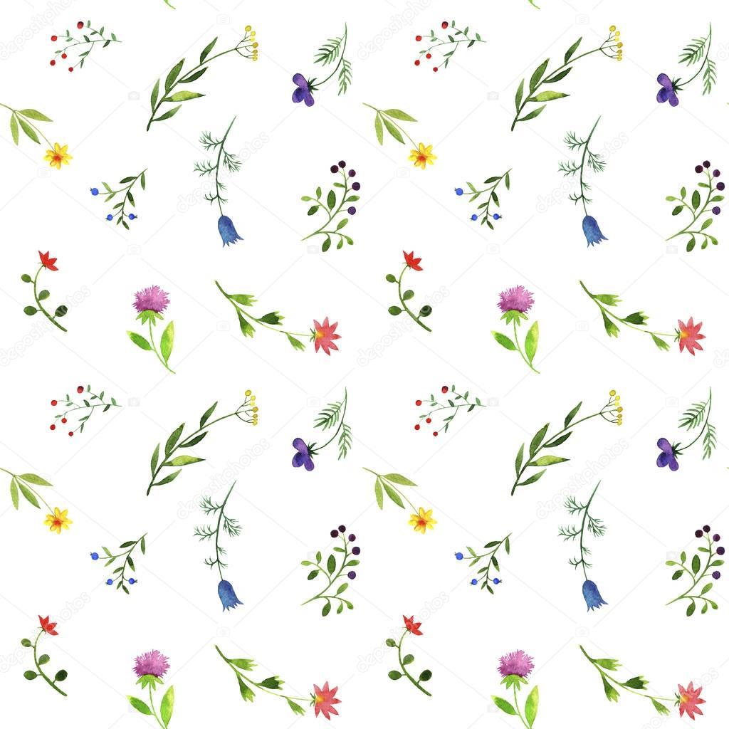 无缝模式与水彩涂鸦植物和花朵 - originoo锐景创意
