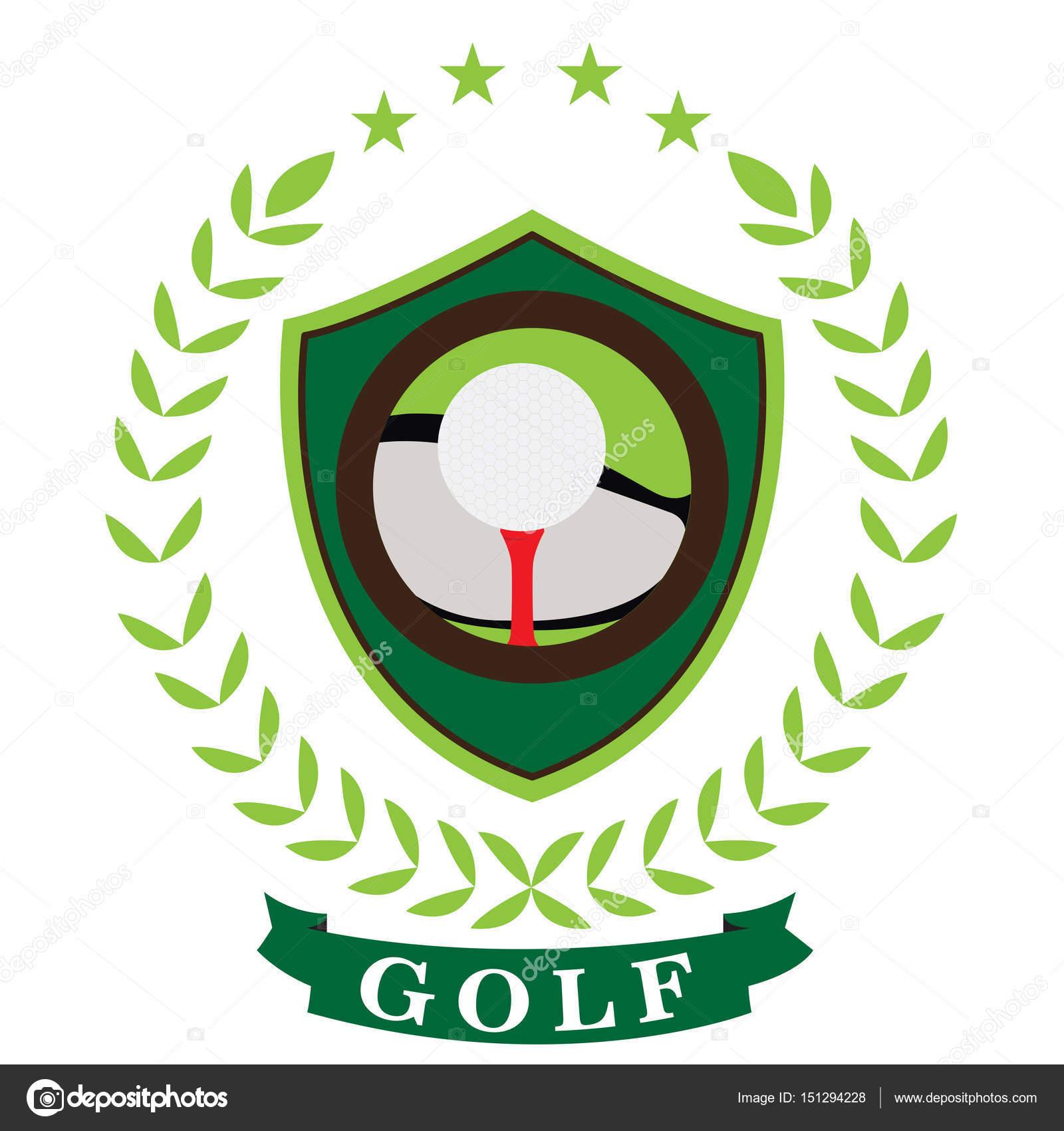 用一条丝带,矢量图的孤立的高尔夫会徽— vector by jokalar01