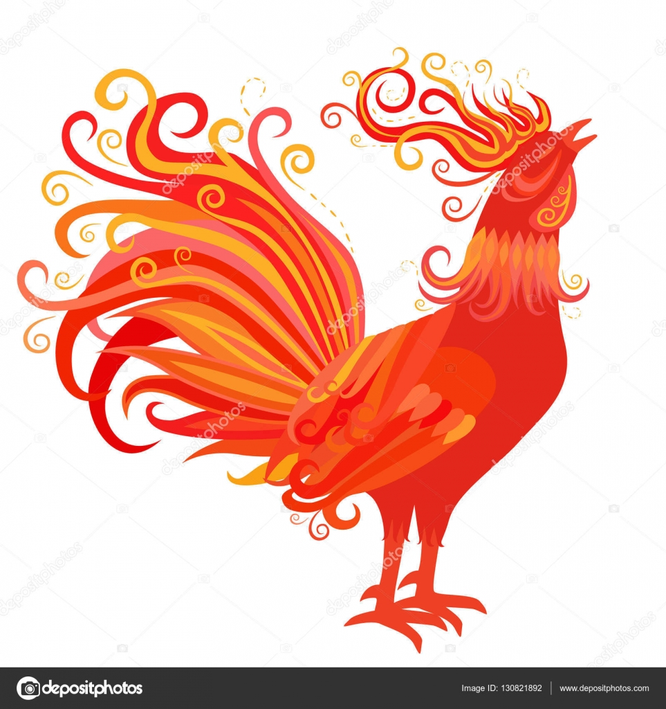 ... Fire Rooster Symbol of 2017 New Year — Stock Illustration #130821892