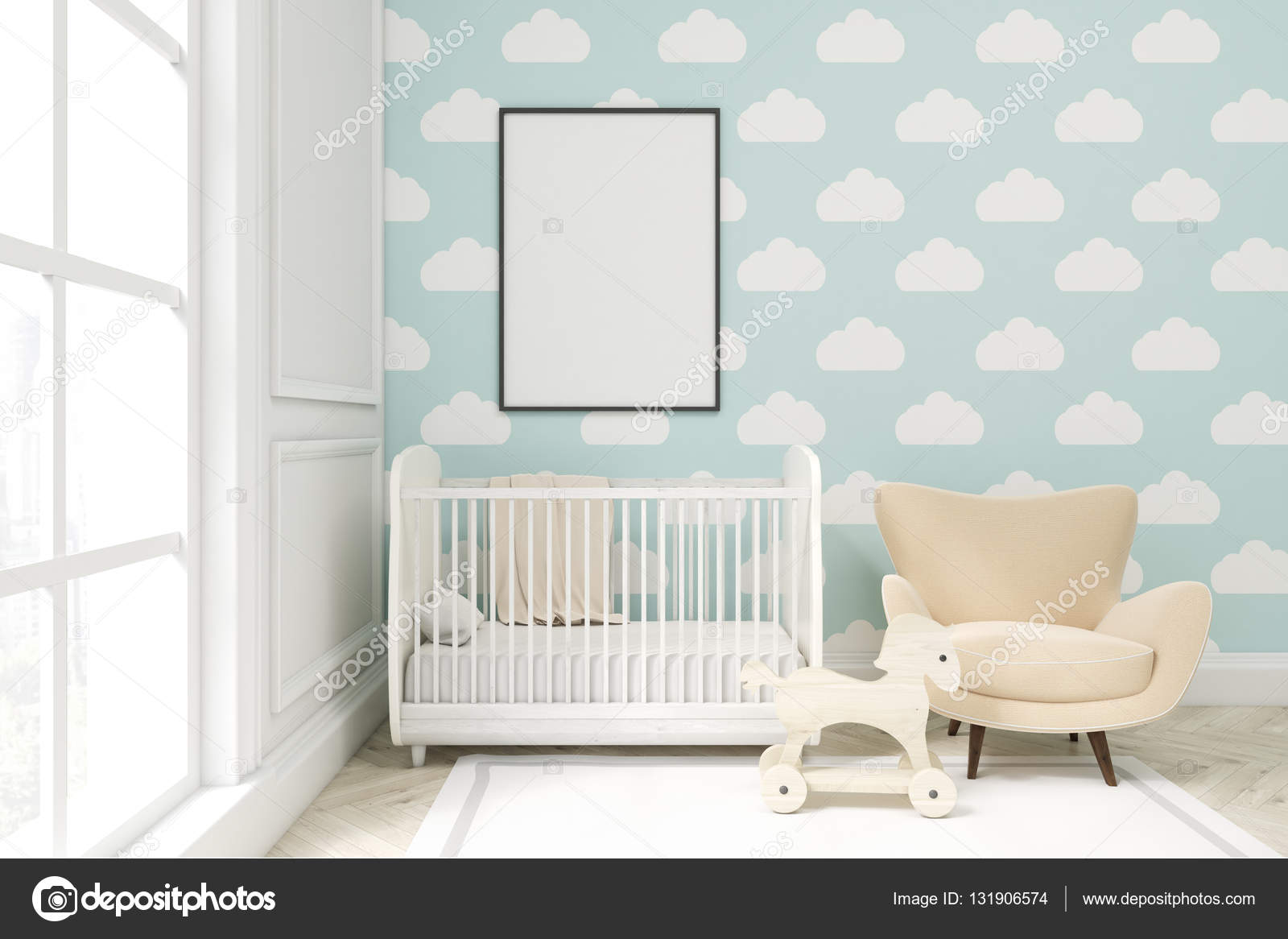 gros plan d une chambre d enfant avec nuage papier peint sur mur bleu photo 131906574. Black Bedroom Furniture Sets. Home Design Ideas