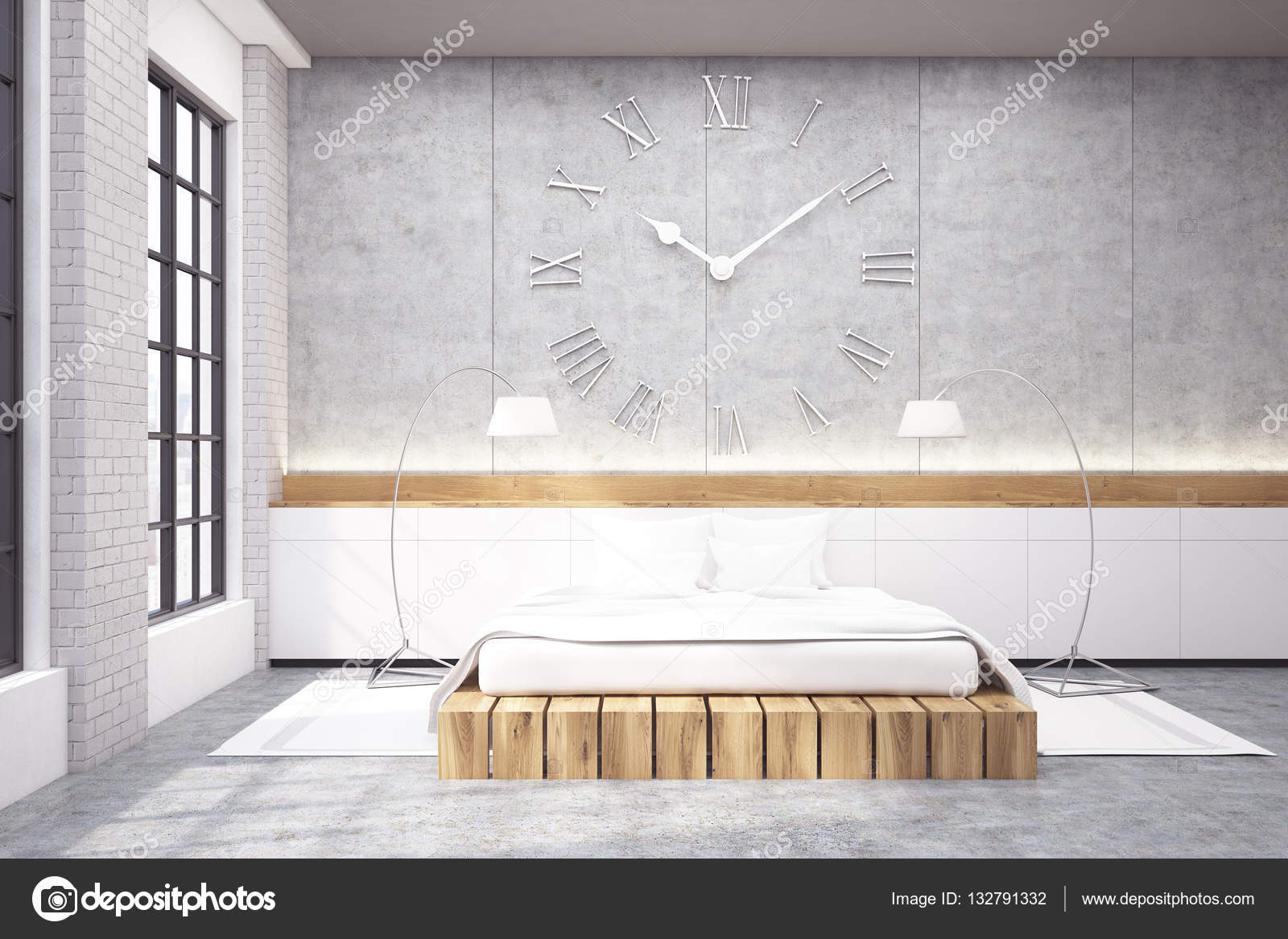 grote slaapkamer met een tweepersoonsbed, een klok en twee lampen, Meubels Ideeën