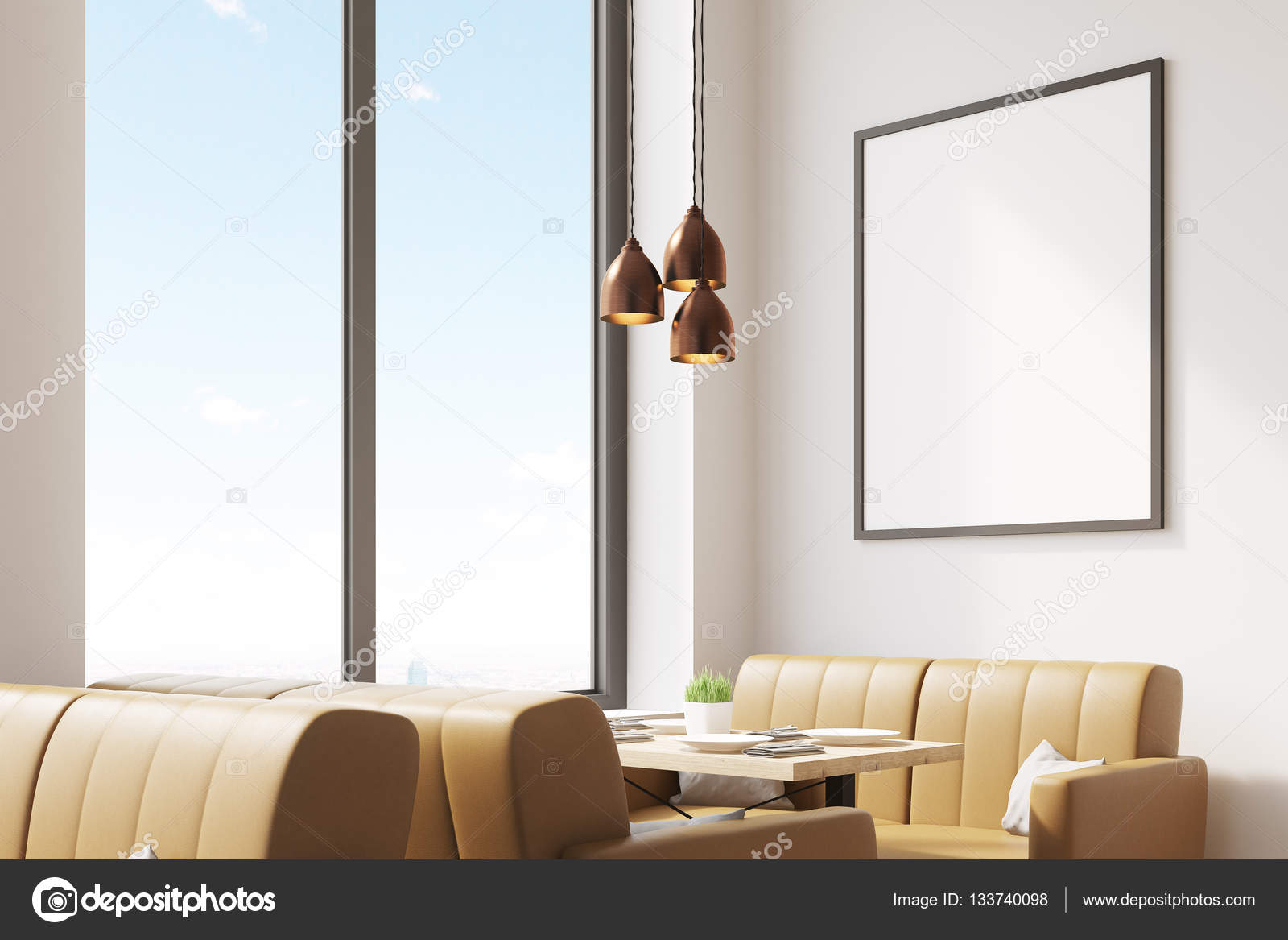 cafe with beige sofas and poster — stock photo © denisismagilov