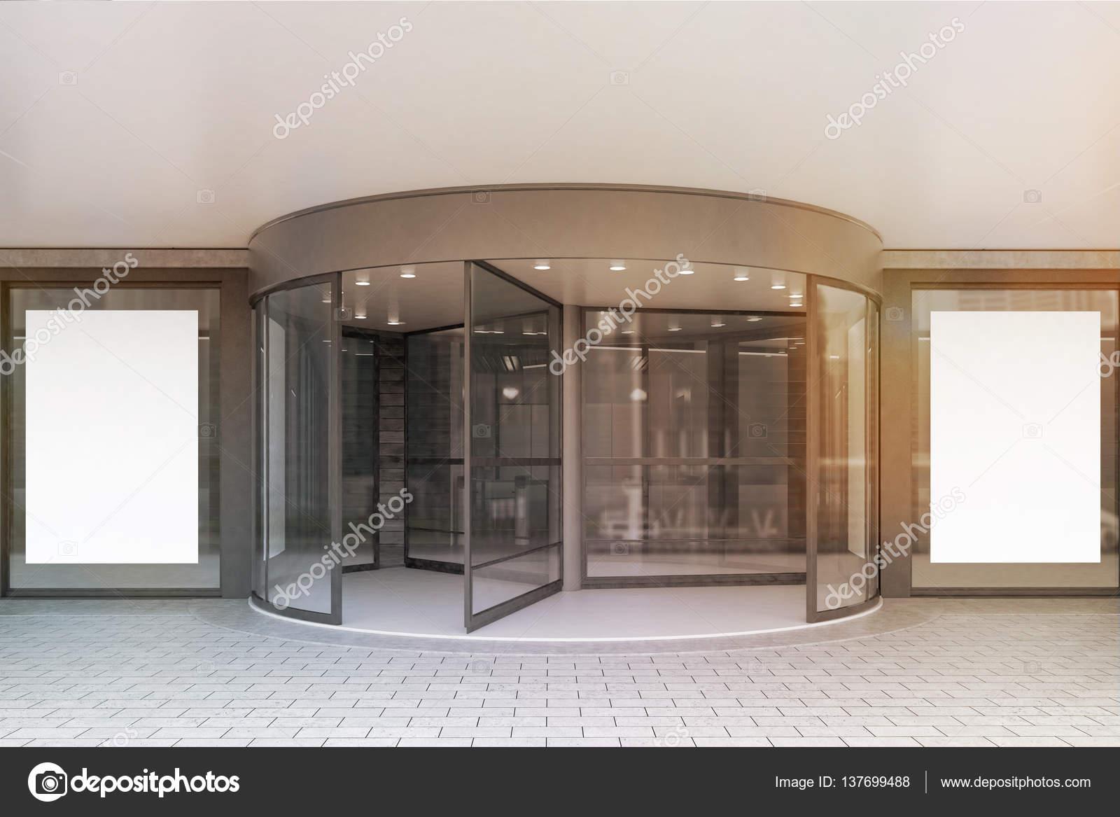 Glazen deuren van corporate gebouw affiches afgezwakt stockfoto 137699488 - Glazen ingang ...