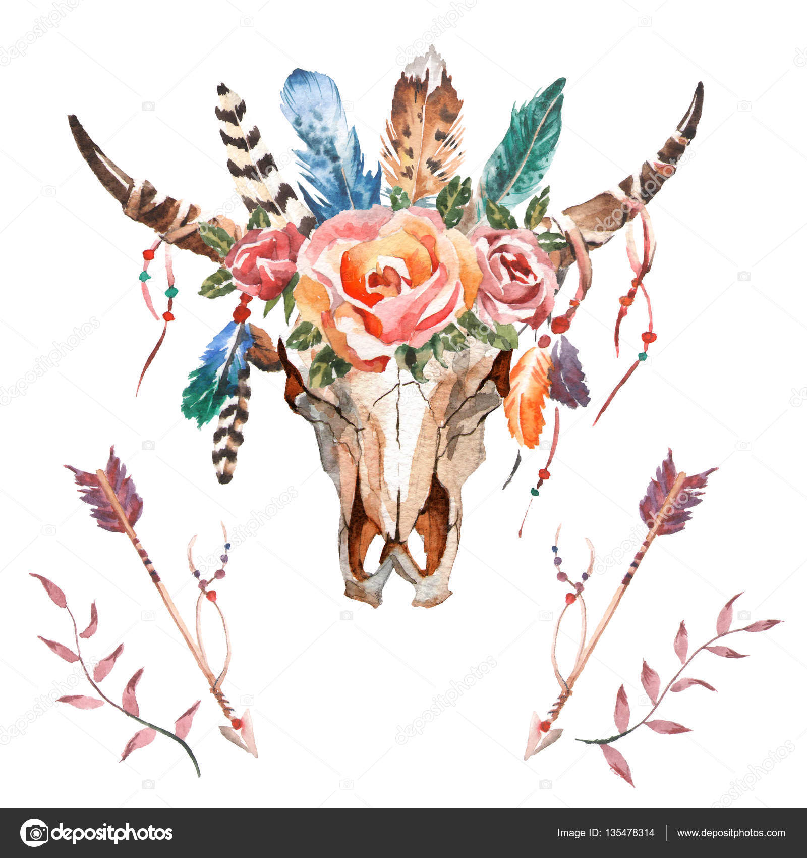 Flores plumas animal elementos de la imagen de acuarela for Imagenes boho chic
