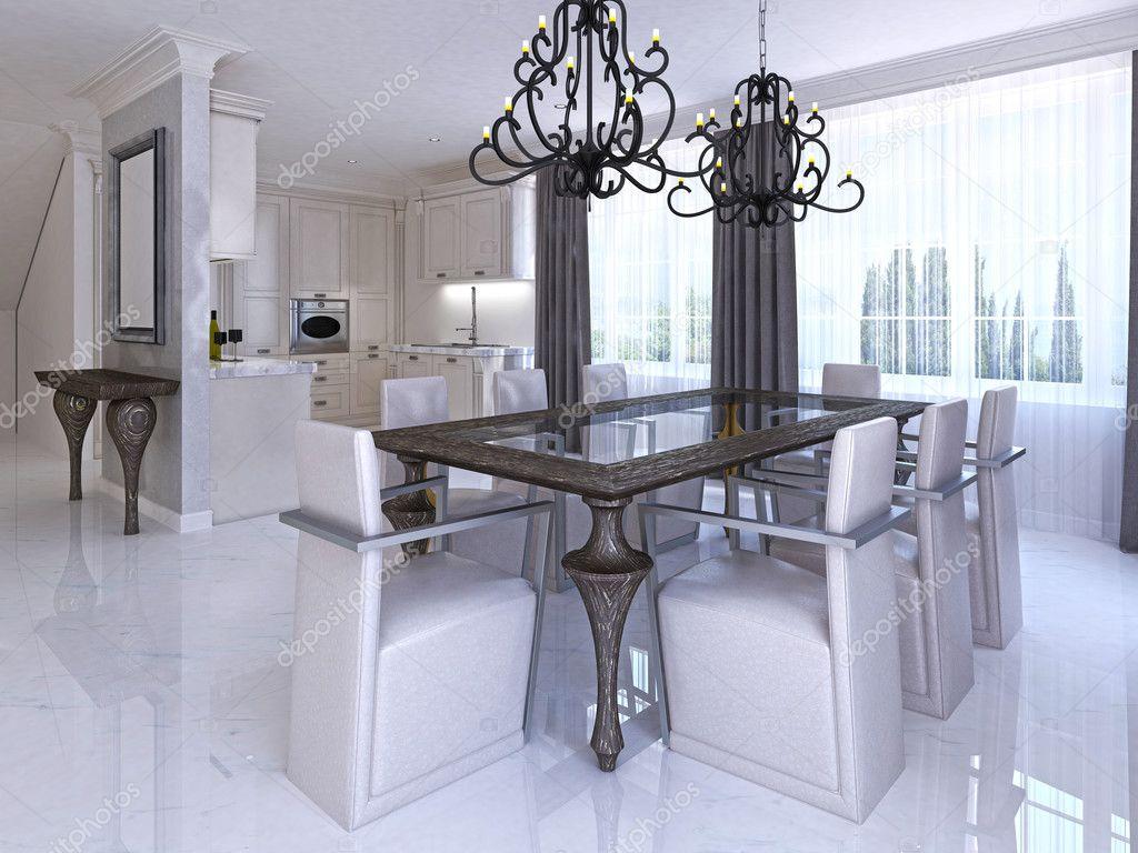 Lyxig matsal med matbord och designade stolar — Stockfotografi ...