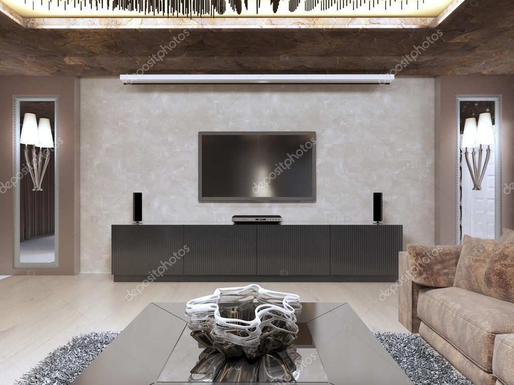 Gula vardagsrum med bruna soffor och tv — stockfotografi ...