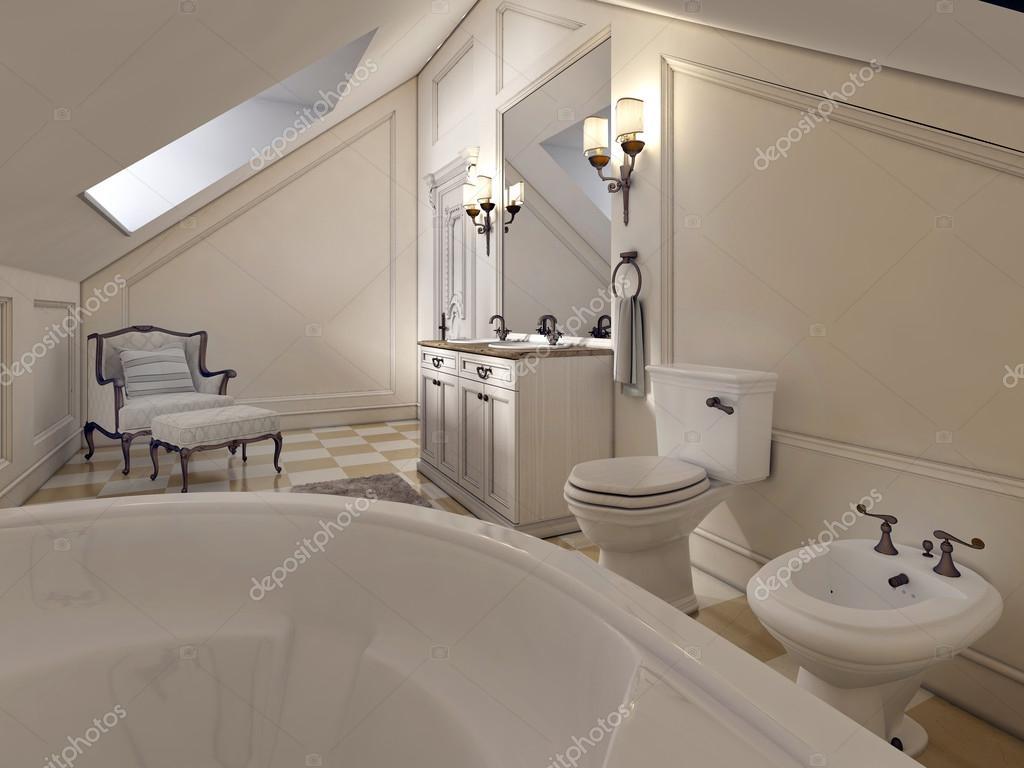luxus-badezimmer im dachgeschoss im stil der provence — stockfoto