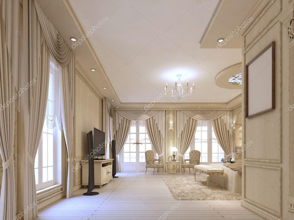 Design lyxiga sovrum i beige toner, med stora fönster och cla ...