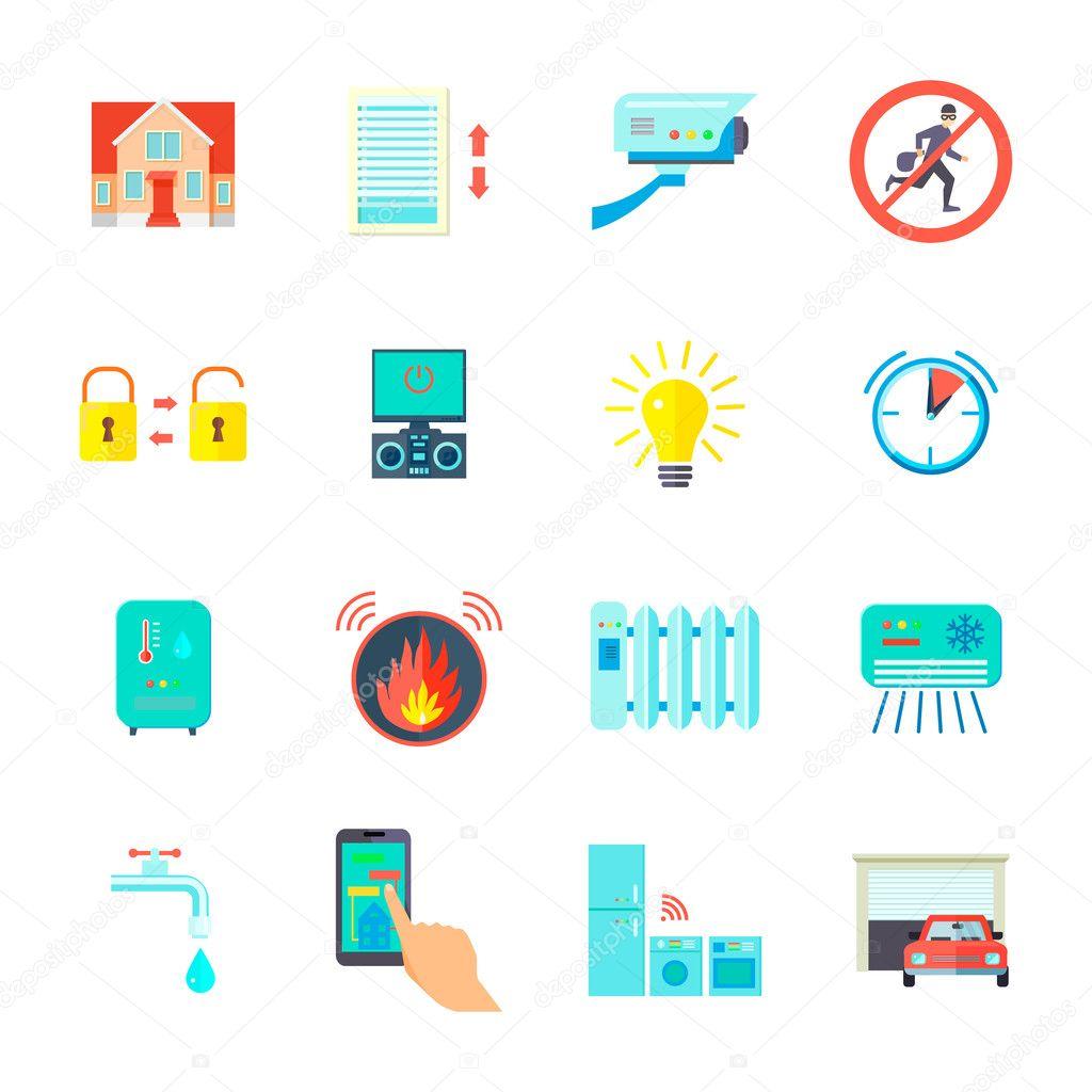 smart home icons set stock vector macrovector 124940674. Black Bedroom Furniture Sets. Home Design Ideas