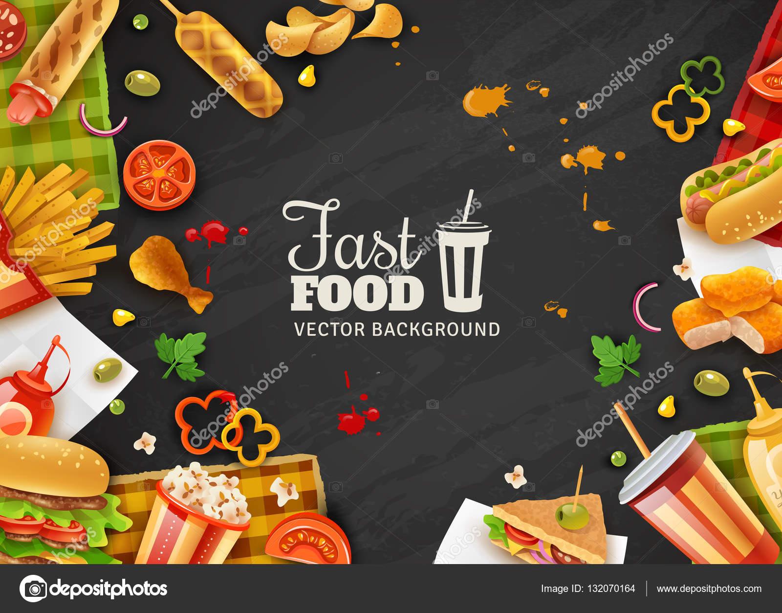 Fondo Para Comida Rapida: Fast Food Siyah Arka Plan Afiş
