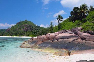 Coast of island in tropics. Baie Lazare, Mahe, Seychelles