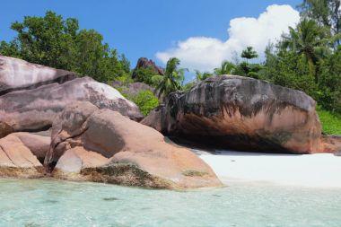Basalt educations on tropical island. Baie Lazare, Mahe, Seychelles