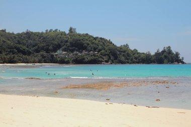 Sandy beach and zone of bathing. Baie Lazare, Mahe, Seychelles