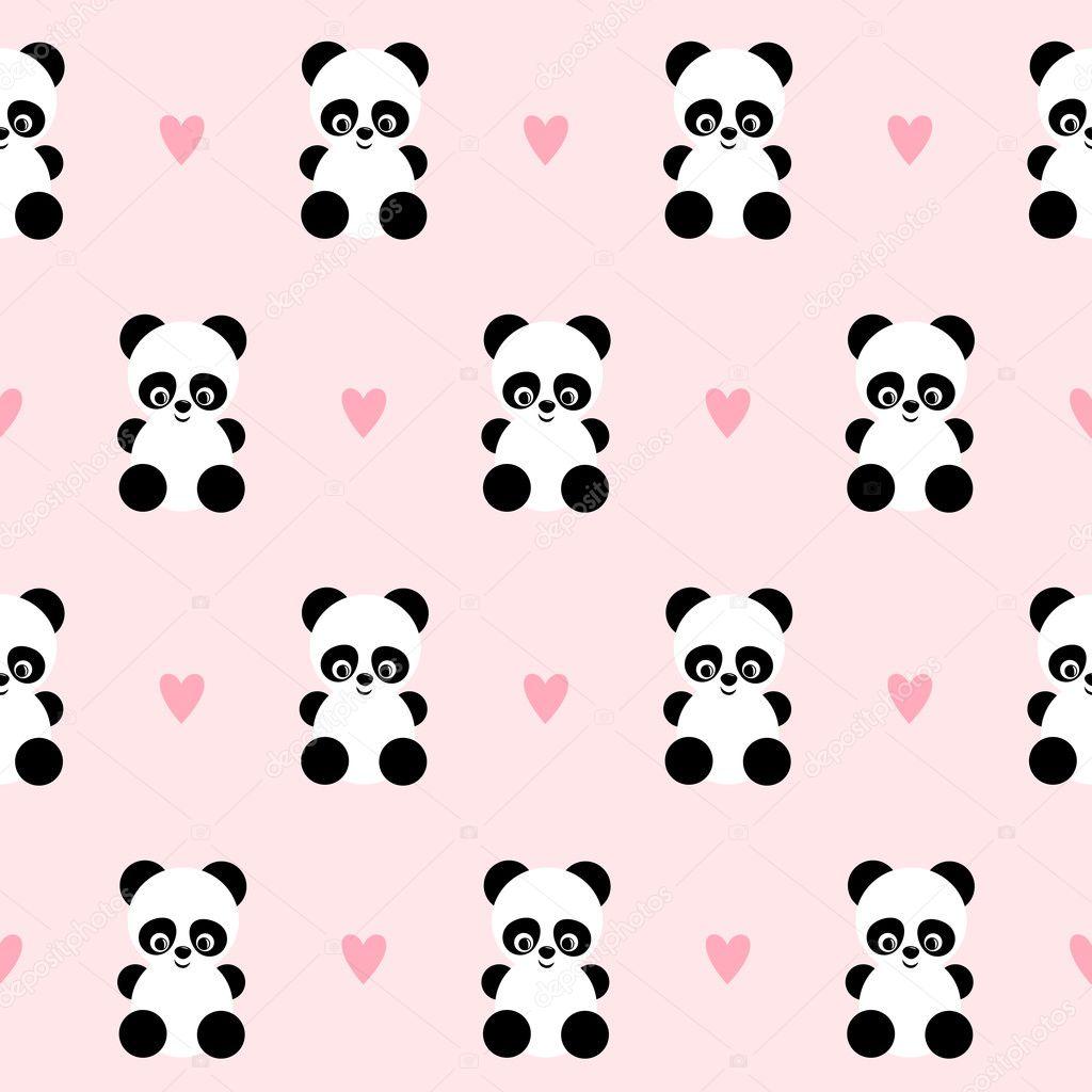 Panda con patrón transparente corazones sobre fondo rosa ...