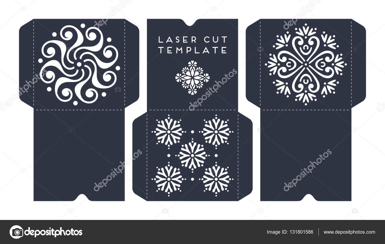 Vector Wedding Card Laser Cut Template Stock Vector
