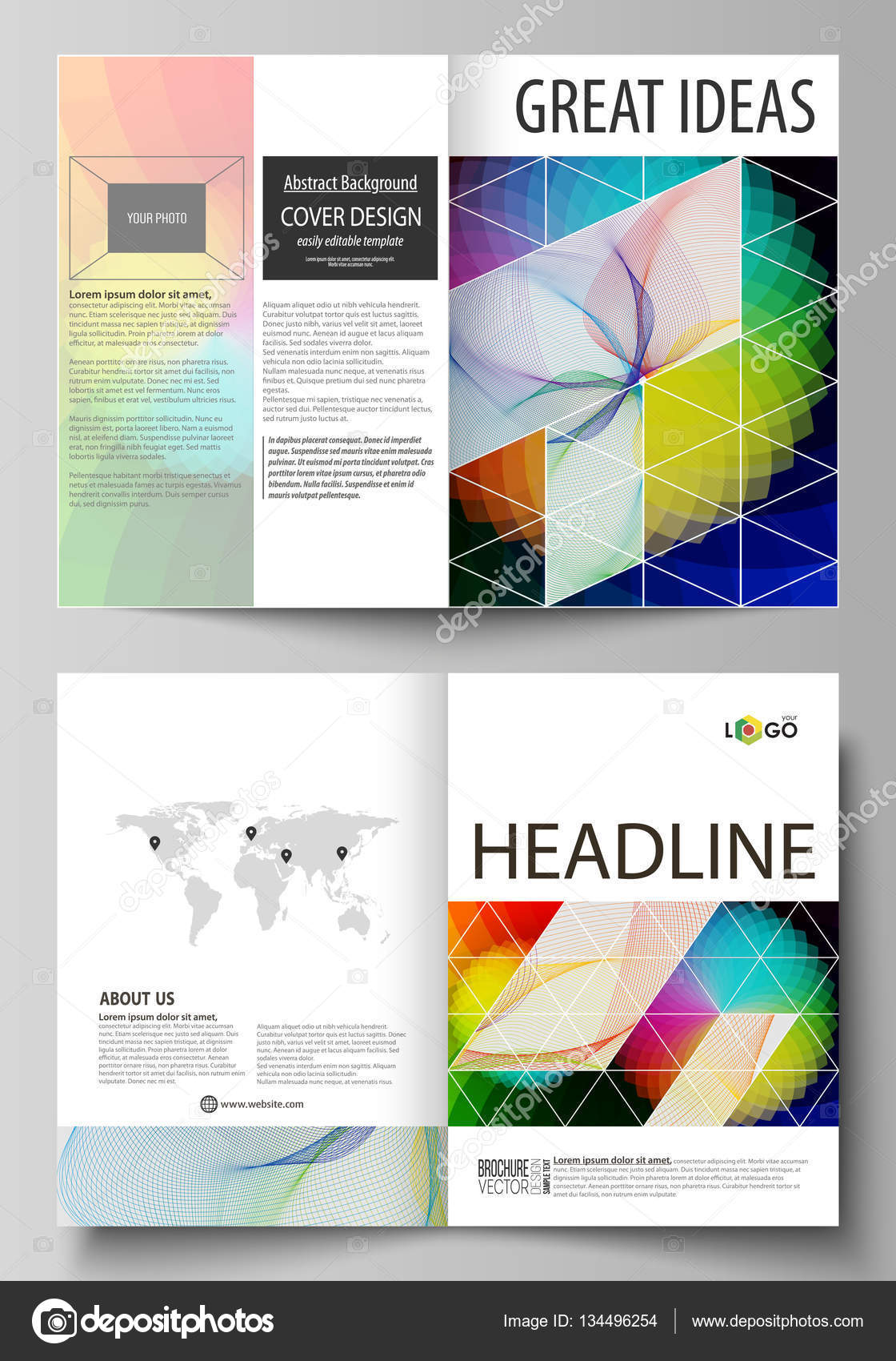 business templates for bi fold brochure flyer booklet report business templates for bi fold brochure flyer booklet report cover template vector layout in a4 size colorful design overlapping geometric shapes and