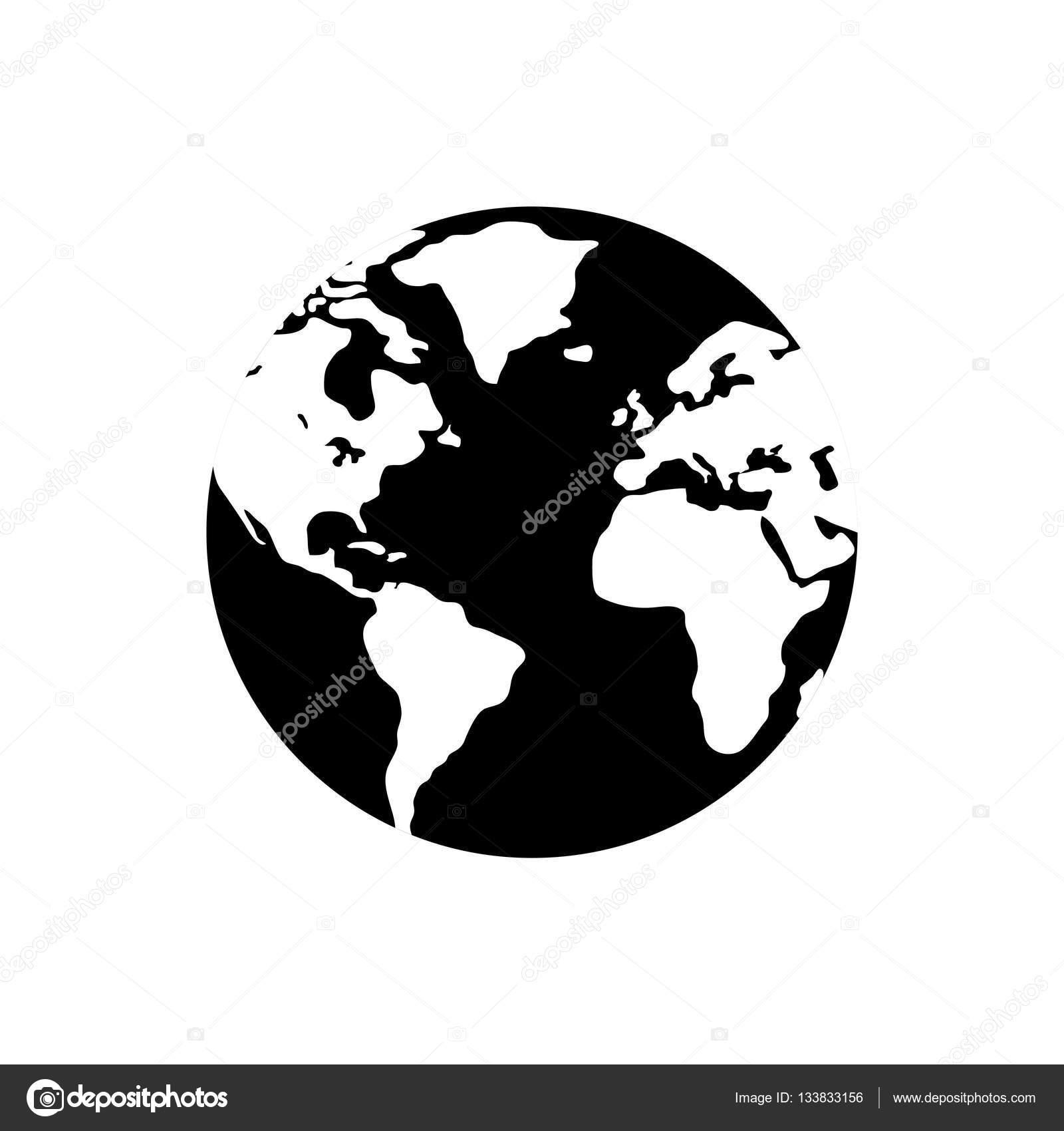 世界地球地图图标矢量图平面设计– 图库插图