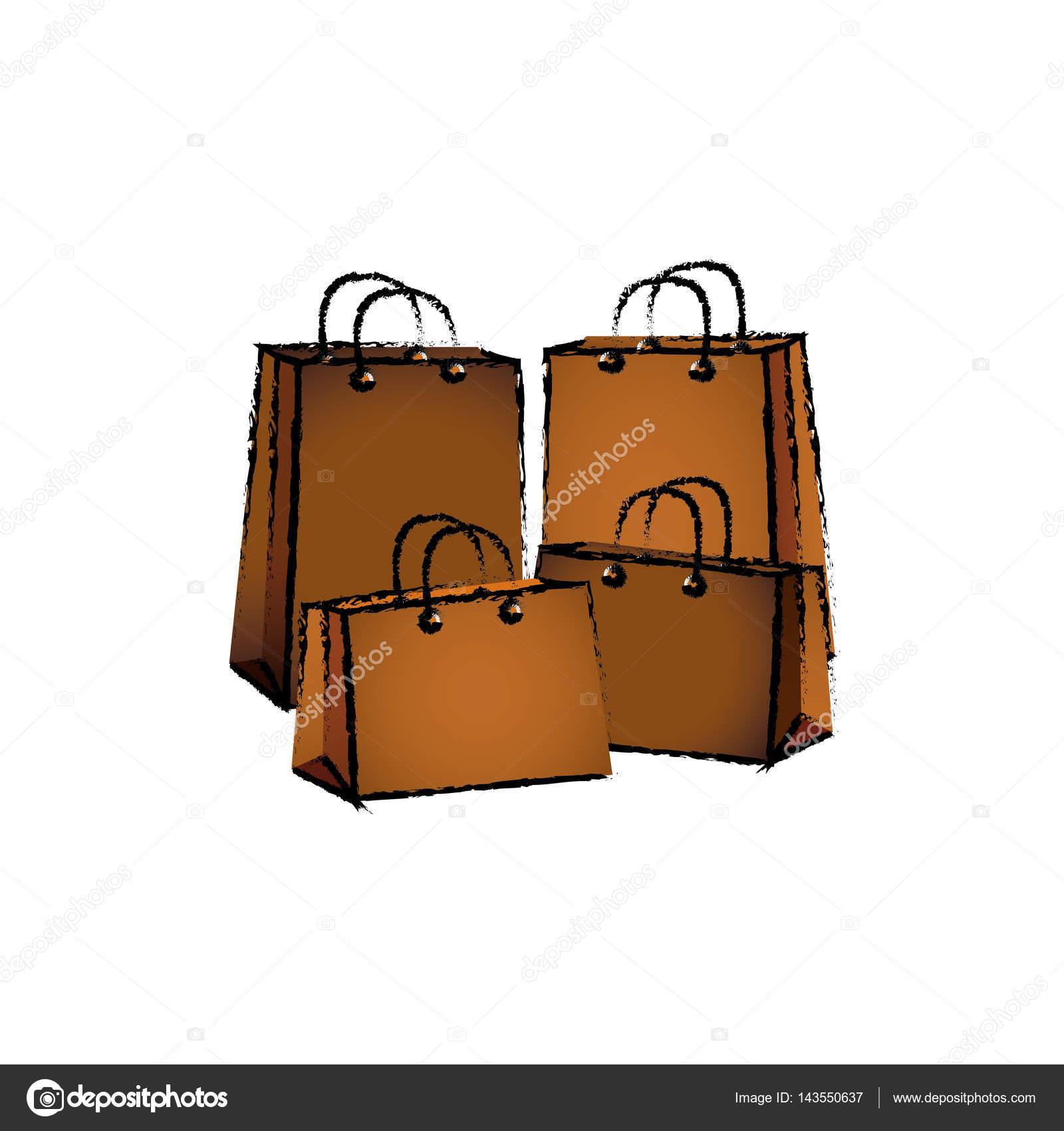 购物袋隔离图标矢量图平面设计– 图库插图