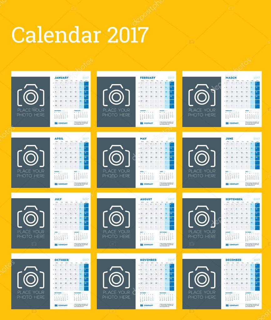 2017 年のデスク カレンダー テンプレートです。月曜始まり。12 月のセット。写真、ロゴ、および連絡先情報のための場所します。ひな形のデザイン。