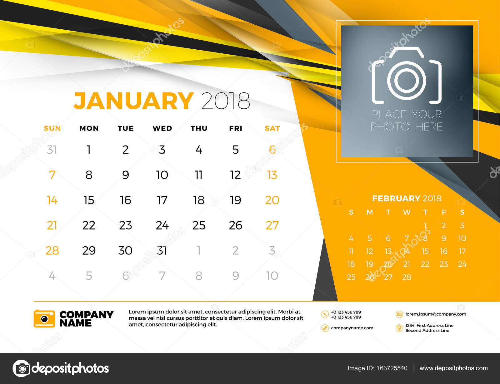 January 2018. Desk calendar design template with abstract ...