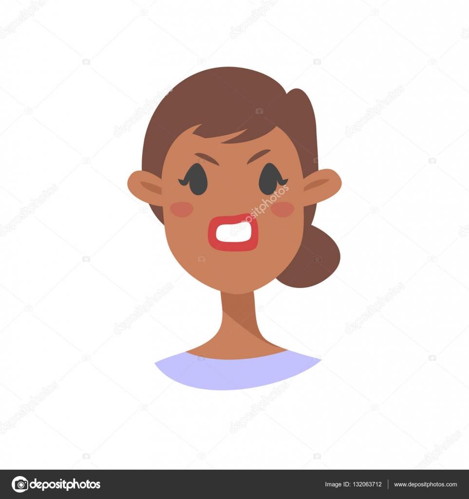 mauvais caractre noir emoji icnes dmotion de style de dessin anim avatars de fille isol avec des expressions faciales agressives