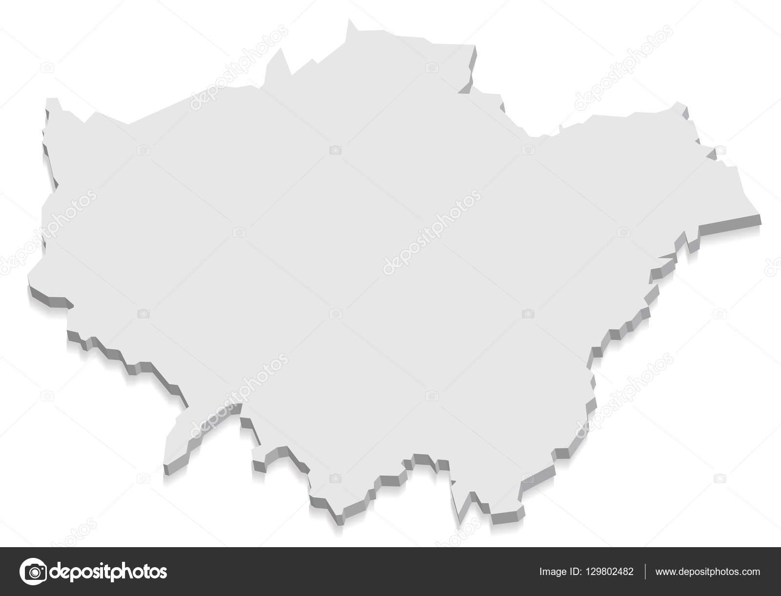 伦敦英国地图灰色 3d 矢量– 图库插图