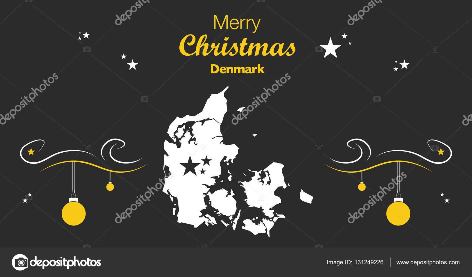 快乐圣诞主题与丹麦的地图