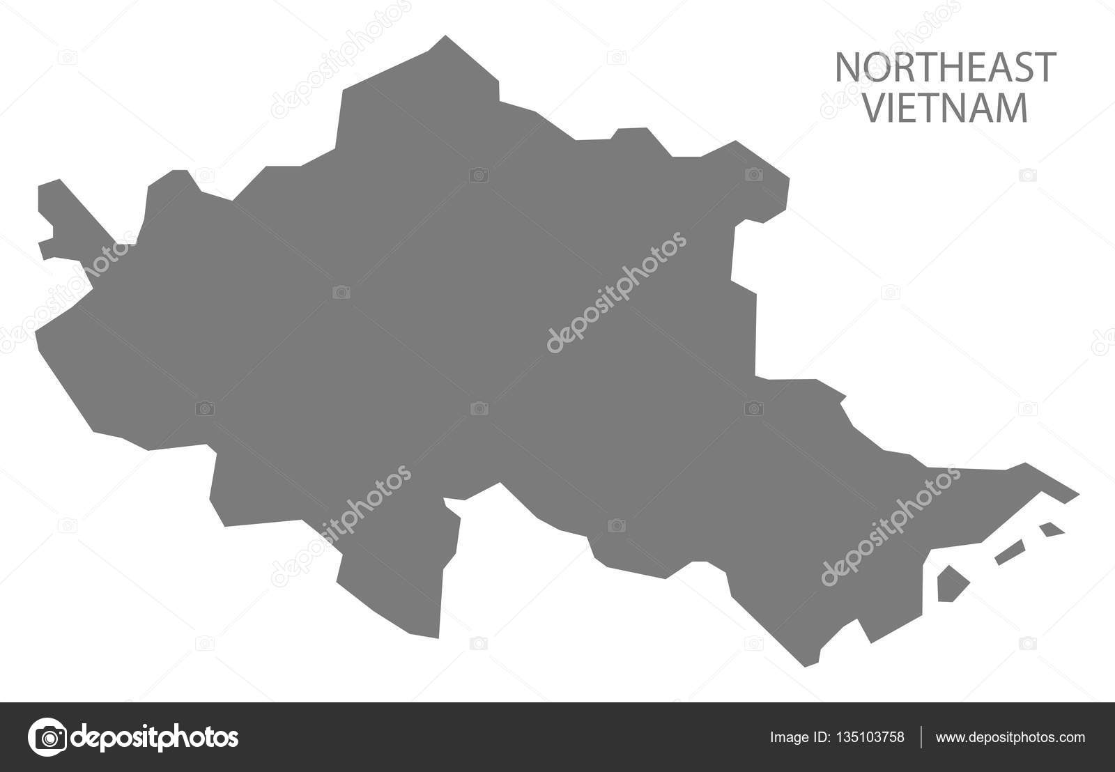 在灰色的东北越南地图 — 图库矢量图片#135103758