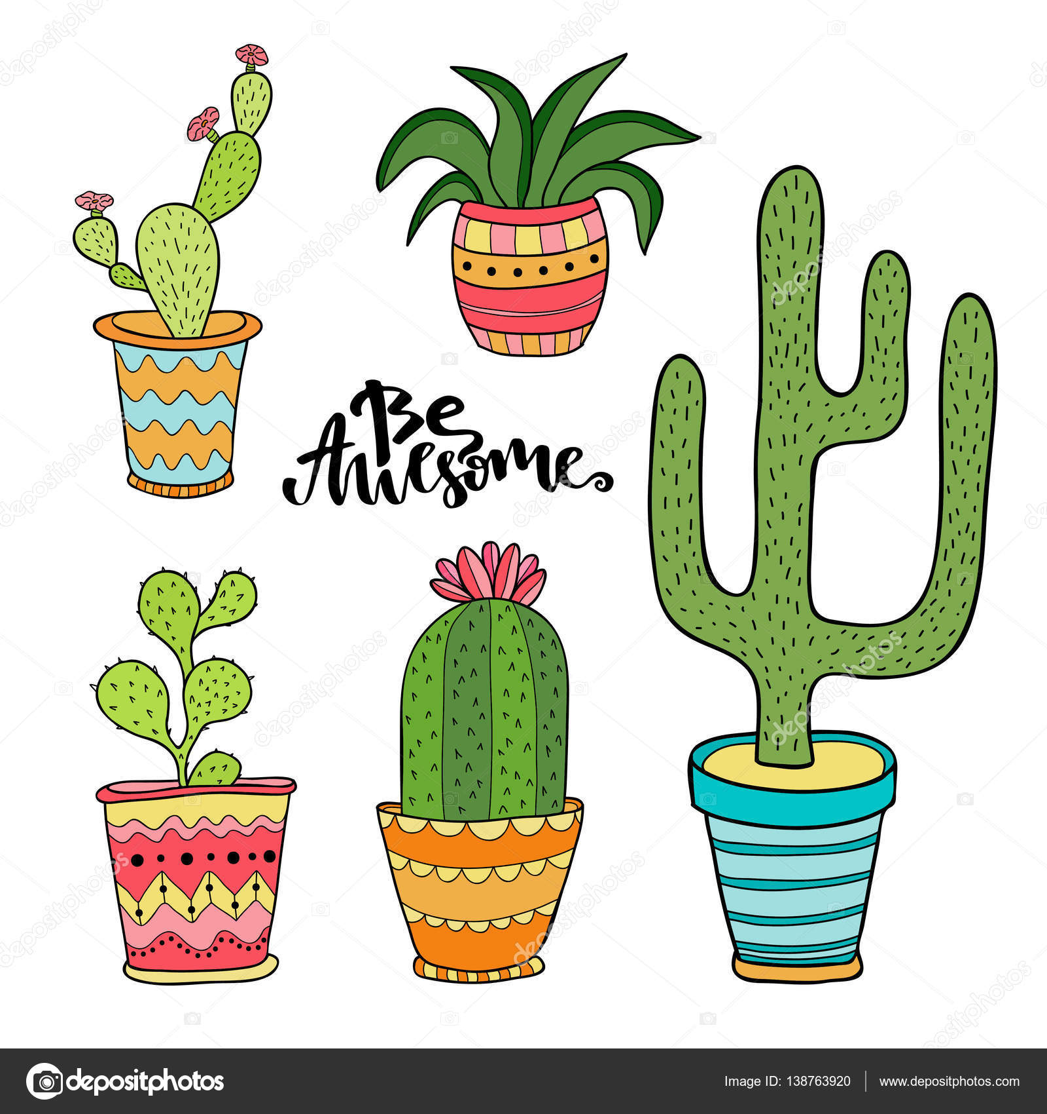 Dibujos animados de plantas en macetas vector de stock for Imagenes de plantas en macetas