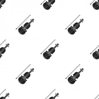 Violin icon in black style isolated on white background. Musical instruments pattern stock vector illustration