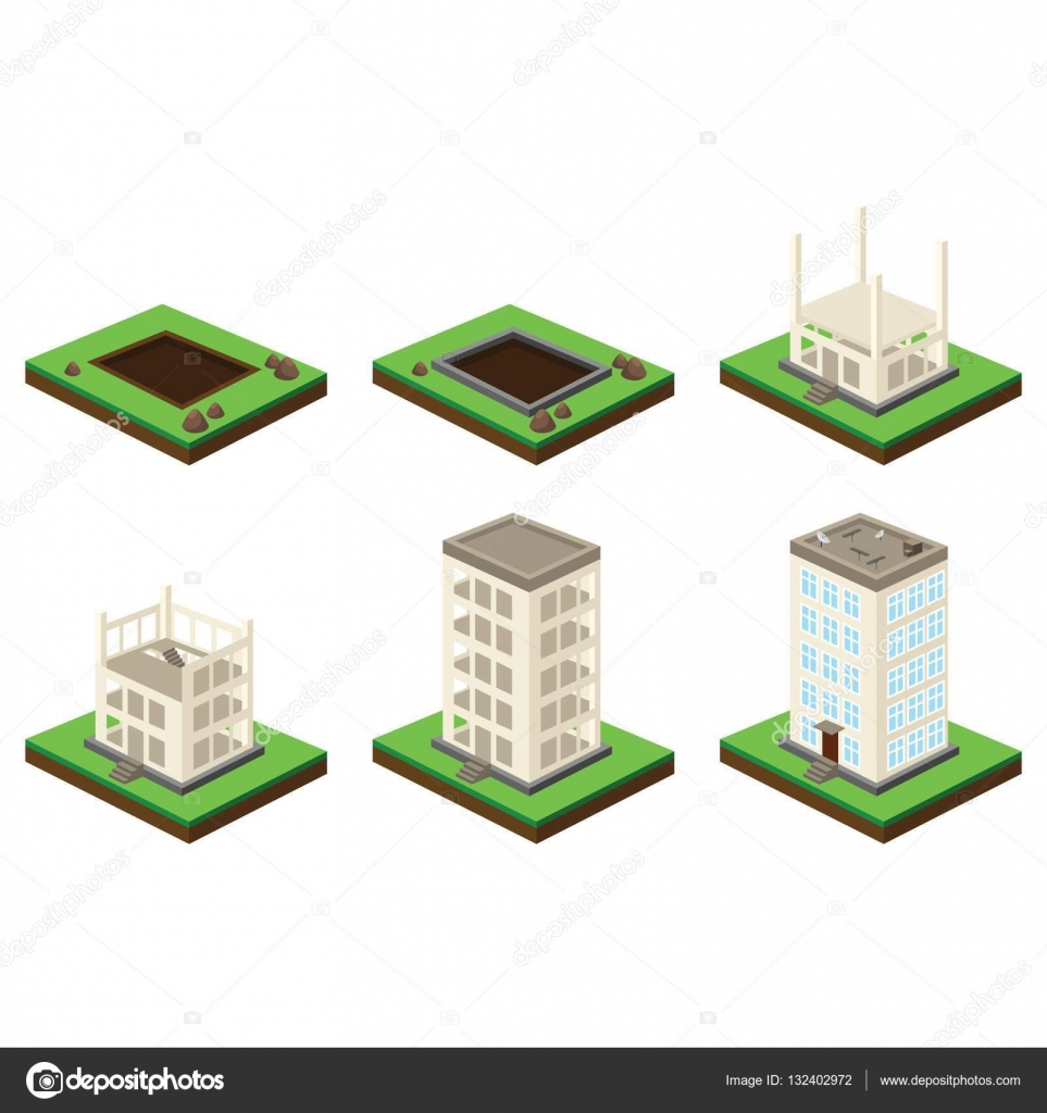 Big house building process. Isometric illustration of house ...