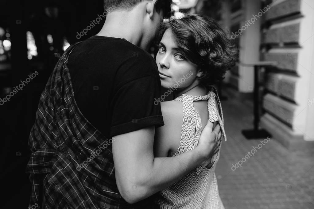 Couple hugging in the street   Stock Image. Couple hugging in the street   Stock Photo   simbiothy  130112270